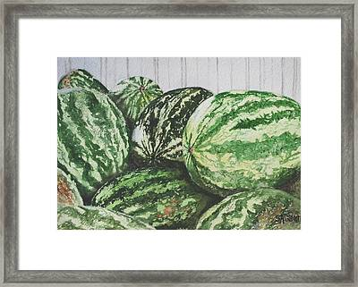 Watermelon Framed Print by Sue Ann Glenn