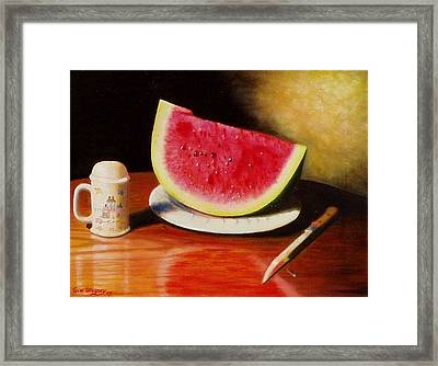 Framed Print featuring the painting Watermelon Time by Gene Gregory