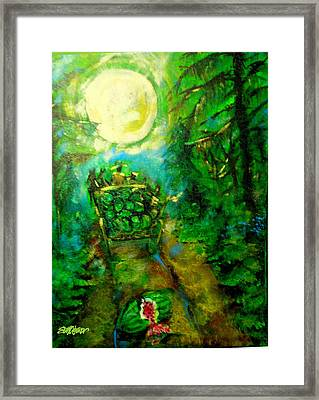 Framed Print featuring the painting Watermelon Wagon Moon by Seth Weaver