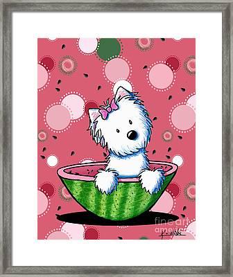 Watermelon Westie Girl Framed Print by Kim Niles
