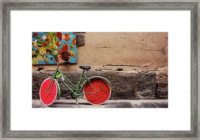 Watermelon Wheels Framed Print by Happy Home Artistry