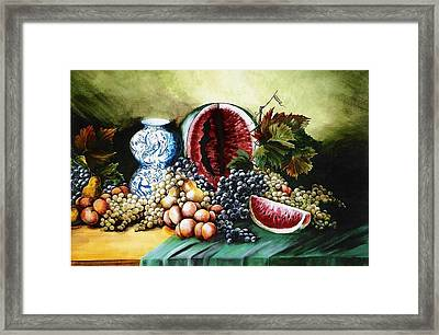 Watermelon With Blue Delft Jar Framed Print