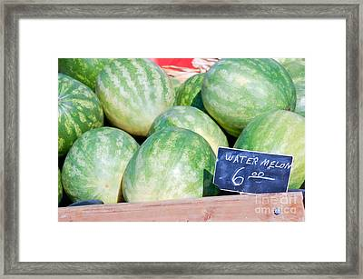 Watermelons With A Price Sign Framed Print by Paul Velgos