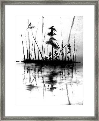 Framed Print featuring the painting Waters Edge by Denise Tomasura