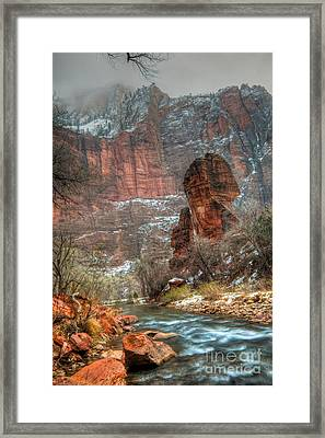 Waters Rushing At The Temple Of Sinawava Framed Print by Irene Abdou