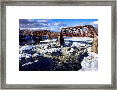Waterville Maine Central Railroad Bridge Framed Print by Olivier Le Queinec