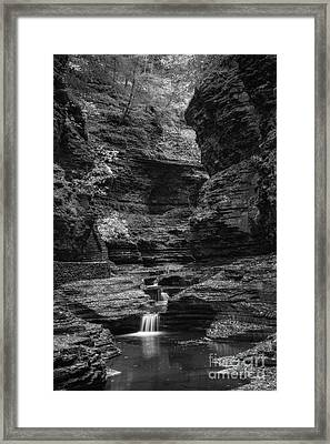 Watkins Glen Gorge Bw Framed Print by Michael Ver Sprill