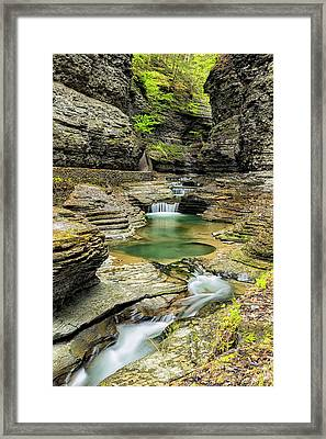 Watkins Glen Gorge Trail Framed Print by Stephen Stookey
