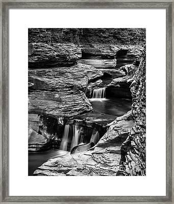 Watkins Glen Gorge Waterfall Black And White Framed Print by Edward Fielding