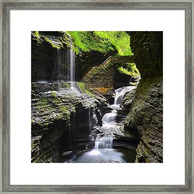 Watkins Glen Rainbow Falls Squared Framed Print by Frozen in Time Fine Art Photography