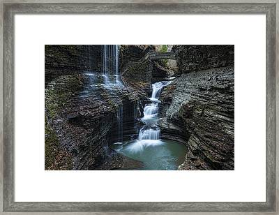 Watkins Glen Rainbow Falls Framed Print by Stephen Stookey