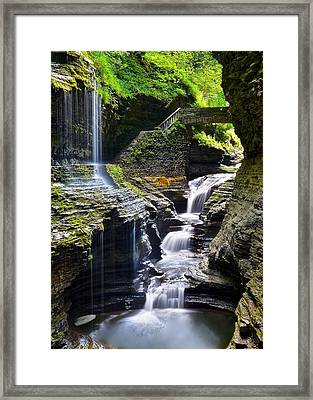 Watkins Glen State Park Feature Falls Framed Print by Frozen in Time Fine Art Photography