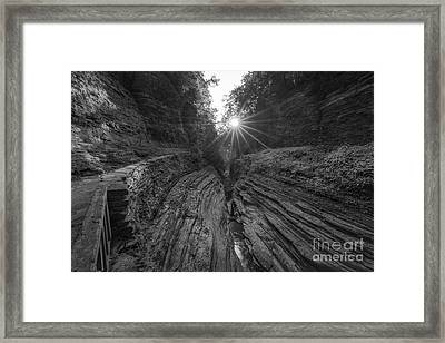 Watkins Glen Sunburst Bw Framed Print by Michael Ver Sprill