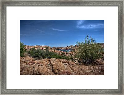 Watson Lake And The Granite Dells Framed Print by Anne Rodkin