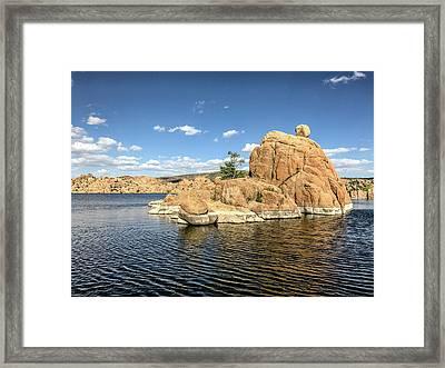 Watson Lake Rock Island Framed Print