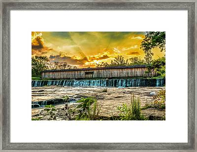 Framed Print featuring the photograph Watson Mill Covered Bridge by Michael Sussman