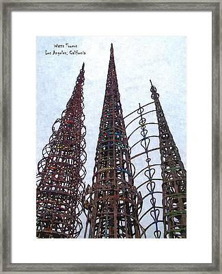 Watts Towers 2 - Los Angeles Framed Print by Glenn McCarthy Art and Photography