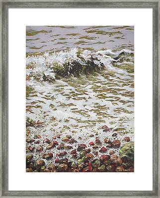 Framed Print featuring the painting Wave And Colorful Pebbles by Martin Davey