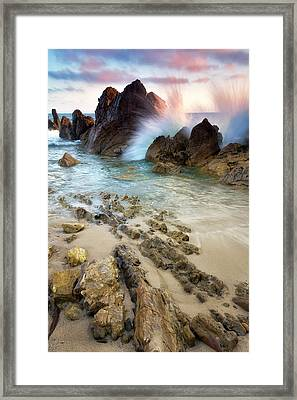 Wave Breaker  Framed Print by Nicki Frates