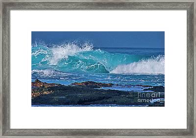 Wave Breaking On Lava Rock Framed Print