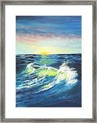 Wave By Early Light Framed Print by Dennis Vebert