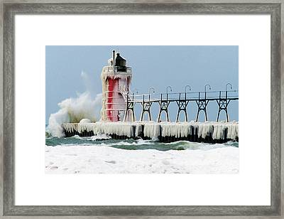 Wave Crashing On Snow-covered South Framed Print