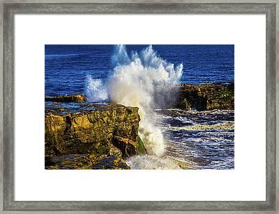 Wave Crashing Santa Cruz Framed Print by Garry Gay