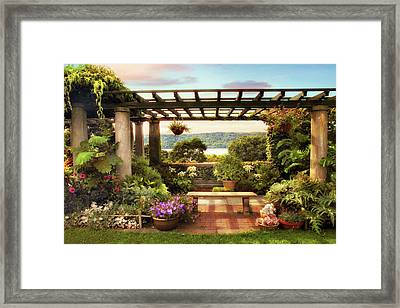 Wave Hill Pergola Framed Print by Jessica Jenney