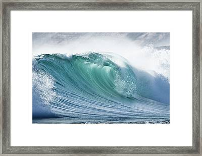 Wave In Pristine Ocean Framed Print