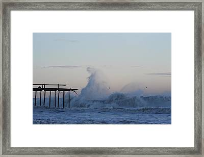 Wave Towers Over Oc Fishing Pier Framed Print