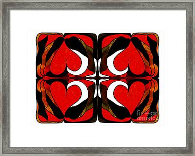 Wavering Hearts Abstract Bliss Art By Omashte Framed Print by Omaste Witkowski