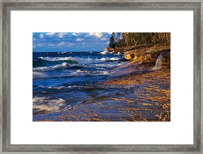 Waves Along Lake Michigan Shoreline Framed Print by Panoramic Images