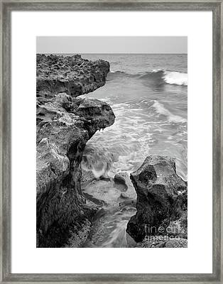 Waves And Coquina Rocks, Jupiter, Florida #39358-bw Framed Print