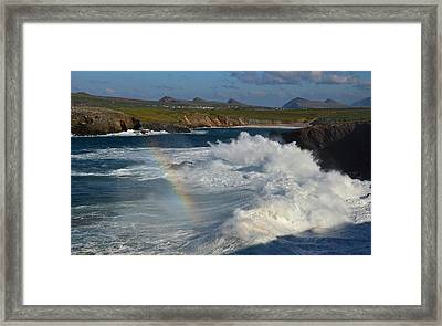 Waves And Rainbow At Clogher Framed Print