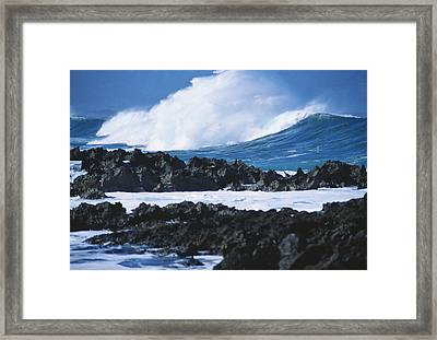 Waves And Rocks Framed Print by Kyle Rothenborg - Printscapes