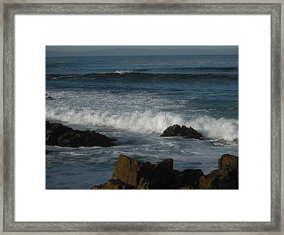 Waves And Rocks Framed Print by Sharon McKeegan