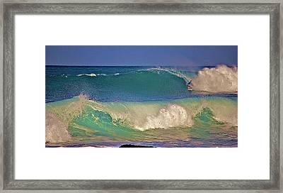 Waves And Surfer In Morning Light 2 Framed Print