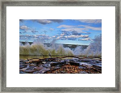 Waves And Wind On A Fall Day Framed Print
