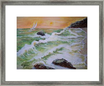 Waves Ashore Framed Print by Carol Grimes