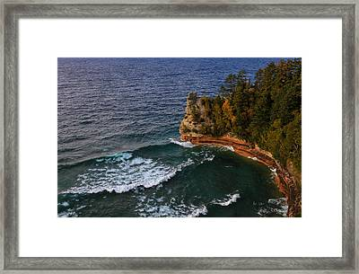 Waves At Miners Castle Framed Print by Rachel Cohen