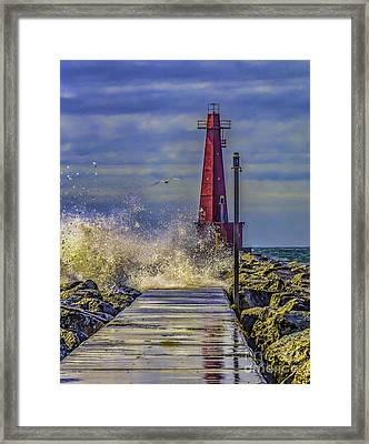 Waves At Muskegon South Breakwater Framed Print