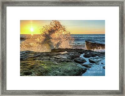 Waves At Sunset Cliffs Framed Print