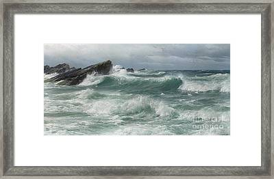 Waves Breaking On A Rocky Coast Framed Print by Celestial Images