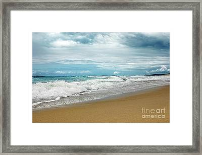 Framed Print featuring the photograph Waves Clouds And Sand By Kaye Menner by Kaye Menner