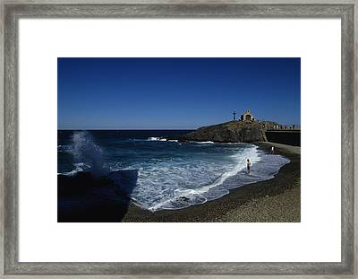 Waves Crash Onto The Beach Framed Print by Stacy Gold