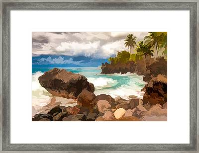 Waves Crashing Along Lava Rocks On Tropical Island Framed Print by Lanjee Chee