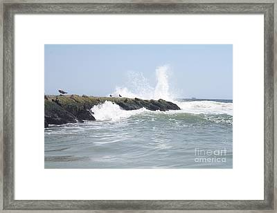 Waves Crashing Onto Long Beach Jetty Framed Print by John Telfer