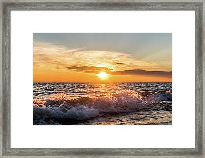 Waves Crashing With Suset Framed Print