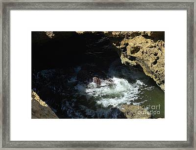 Waves Crushing Rocks In Carvoeiro Framed Print by Angelo DeVal