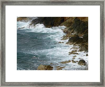 Waves Lashing Rocks Framed Print